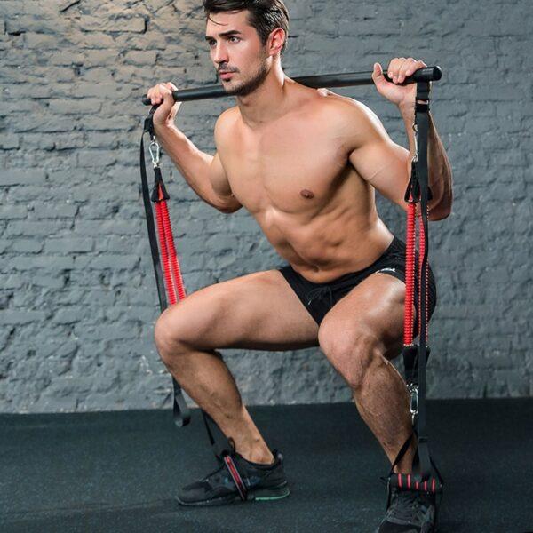 Resistance Bands Set Premium Strength training Assemble Pilates Bar System with Adjustable Belt , Home Workouts For Men Women