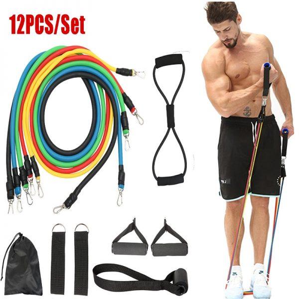 12pc fitness resistance bands set elastic bodybuilding resistant resistance bands sport rubber bands fitness expander