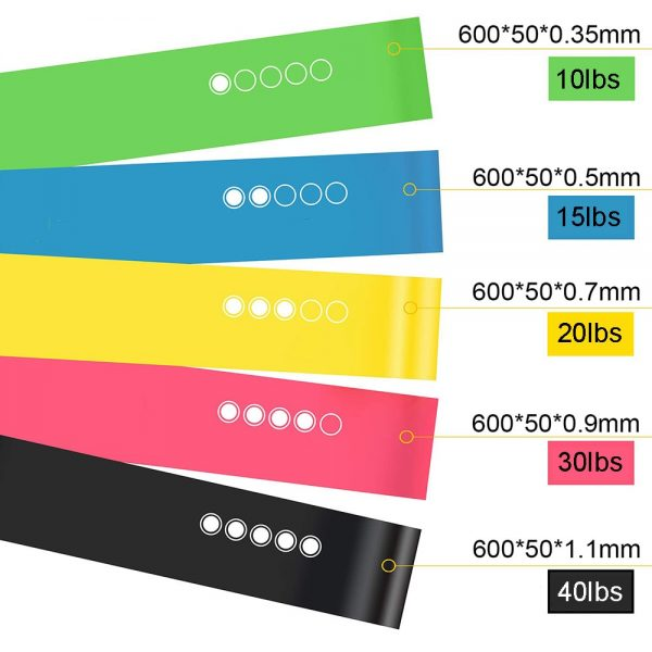 5Pcs/set Resistance Bands with 5 Different Resistance Levels Yoga Bands Home Gym Exercise Fitness Equipment Pilates Training