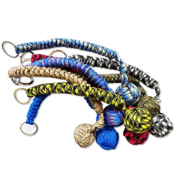 EDC Monkey Fist Steel Ball For Girl Personal Safety Protect Outdoor Security Self Defense Stick Survival Keychain Broken Windows