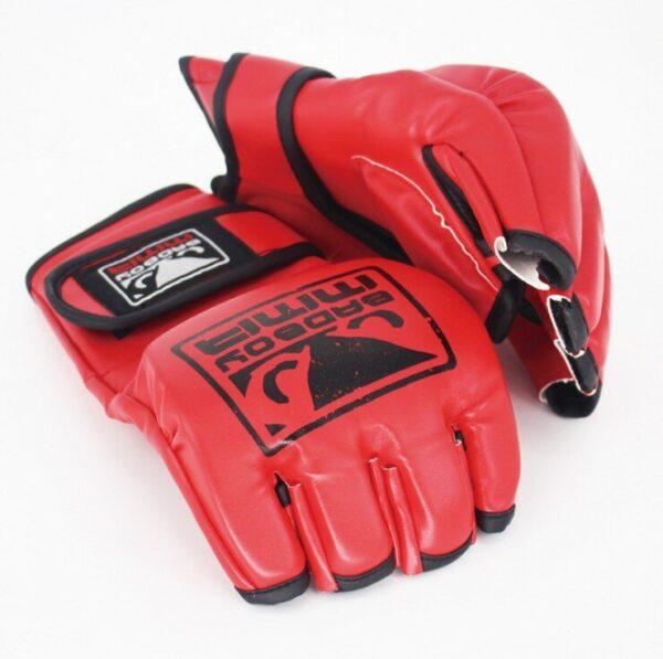Half Finger Boxing Gloves PU Leather Fighting Kick Boxing Gloves Training Workout Gloves Men