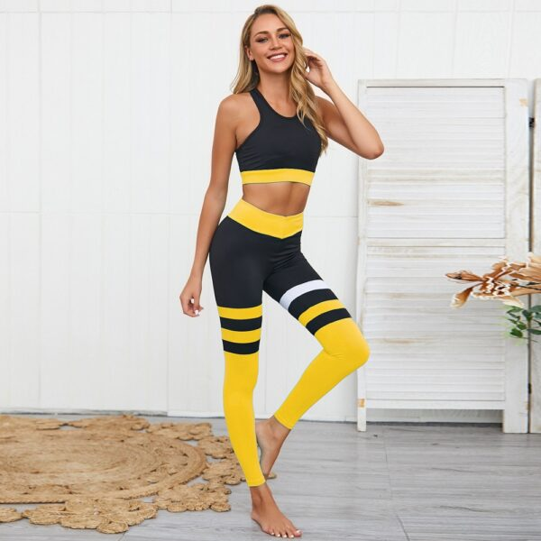 Yoga Set For Fitness Woman New Stripe Patchwork Fitness Wear 2 Piece Suits Slimming Sportswear Gym Clothes Suit For Yoga Female