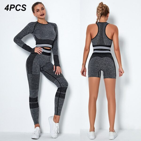 4Pcs Women Vital Seamless Yoga Set Sports Bra+Crop Top Shirts+Shorts+High Waist Leggings Gym Clothing Sports Wear For Women
