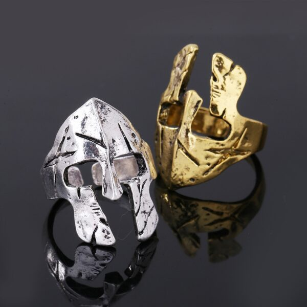 Retro Warrior Ring Spartan Mask Men's Rock Helmet Ring Exaggerated Jewelry Gold Silver Color Ring Gift