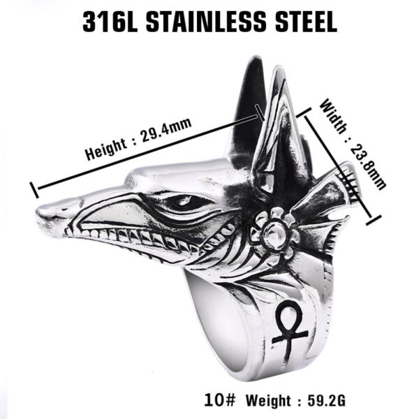 Beier 316L stainless steel Wolf Head Men's Ring Vintage Egyptian Anubis God Fashion High Quality Jewelry LLBR8-360R