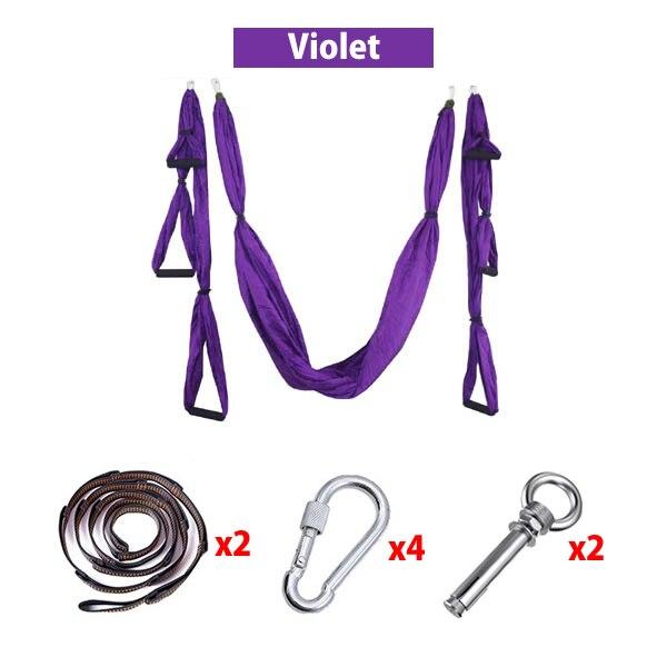 Nylon Yoga Hammock Set Pilates Body Shaping Exercises Device Aerial Yoga Hanging Belt Inversion Trapeze for Cement Ceiling