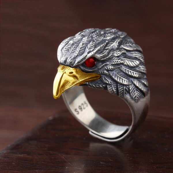 s925 silver original design Japanese and Korean trendy retro exaggerated domineering eagle opening adjustable men's ring