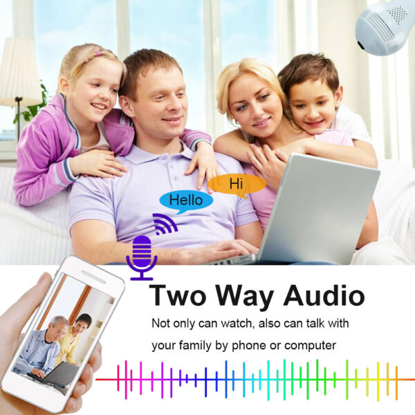 Hot saleINQMEGA 360 Degree LED Light 1080P Wireless Panoramic Home Security WiFi CCTV Fisheye Bulb Lamp IP Camera Two Ways Audio