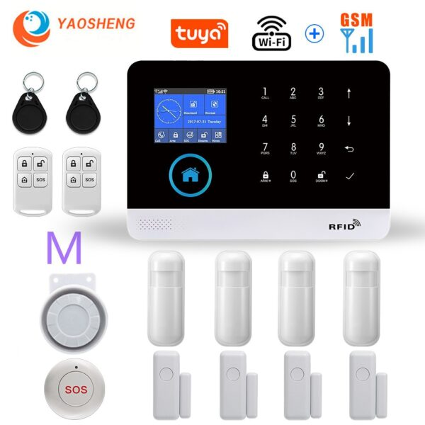 Wireless WIFI GSM Home Security Alarm System For Tuya Smart Life APP With Motion Sensor Gift SOS Compatible With Alexa & Google
